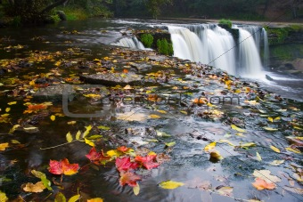 Waterfall with red leafs
