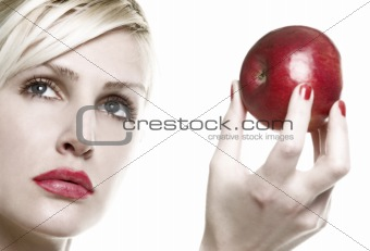 portrait with red apple