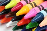 Closeup shot of colorful crayons