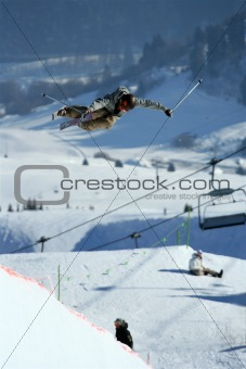 Skier in the halfpipe