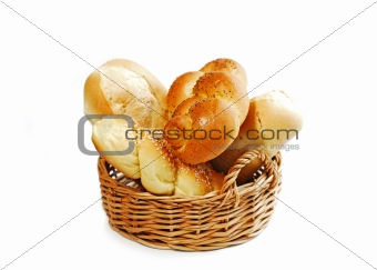 Bread basket on white
