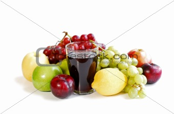 Assorted fruits on white