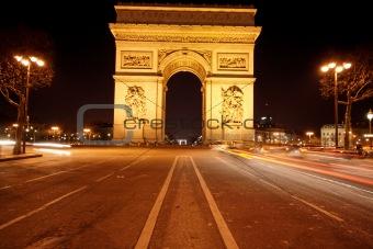 Arc de triomphe and champs élysées