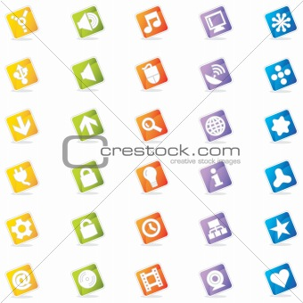 Colorful Internet & Web Icon Set (Vector)
