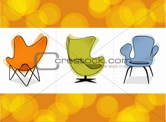 Retro Chair Trio (Vector)