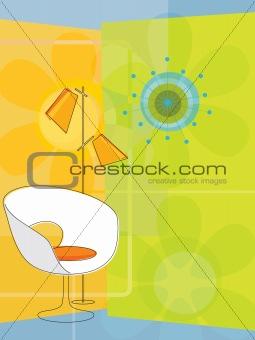Retro-inspired modern chair (Vector)