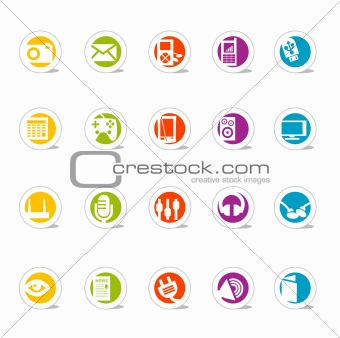 Colorful Simple Web Icon Set Media (Vector)