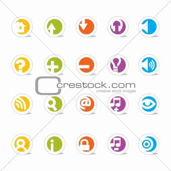 Colorful Simple Web Icon Set (Vector)
