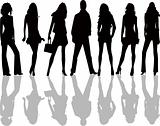 Fashion girls and boy - vector illustration