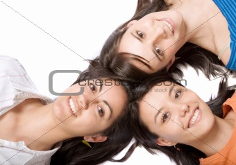 beautiful girls with heads together