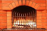 Fireplace with iron lattice 