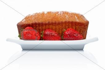 Cake with three strawberries