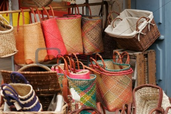 Baskets on a market
