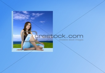 Beautiful Athletic woman relaxing in a window