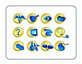 Medical & Pharmacy Icon Set, Golden-Blue
