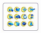 Travel Icon Set: Golden-Blue