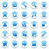Round blue and white icons