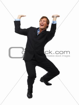Businessman lifting something.