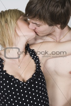Couple hugging passionately