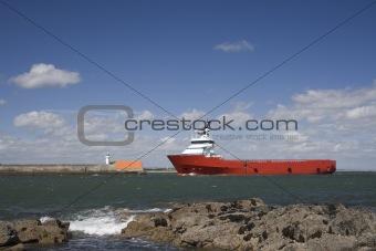 Oil field supply ship