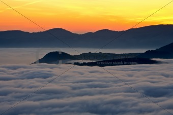 Mountains over the fog