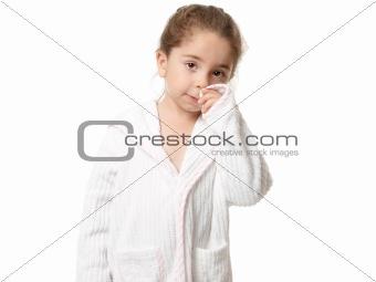 Little girl in bathrobe