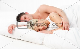 Beautiful girl sleeping with her boyfriend