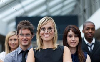 Beautiful businesswoman leading her team