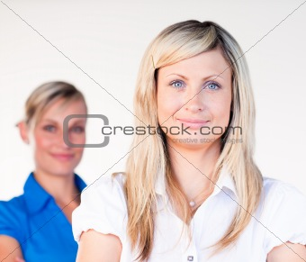 Portrait of a blonde businesswoman with her colleague