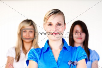 Confident businesswomen smiling at the camera
