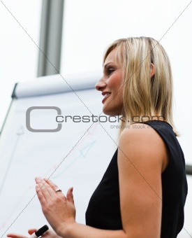 Beautiful businesswoman clapping after a presentation