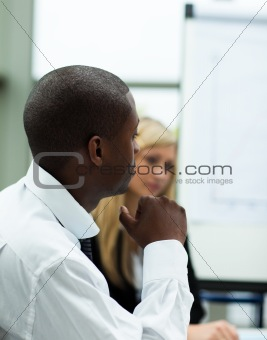 Afro-American businessman in a presentation
