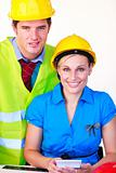 Man and women with hard hat