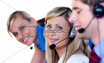 Blonde women in a call center