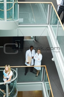 Group of doctors walking in hospital