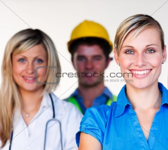 Doctor, businesswoman and architect smiling at the camera