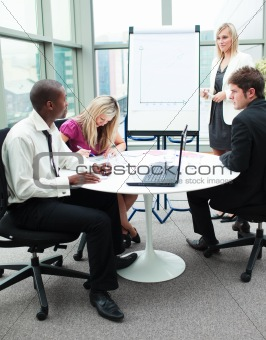 Business people working together in a presentation
