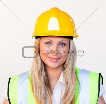 Blonde female with hard hat on
