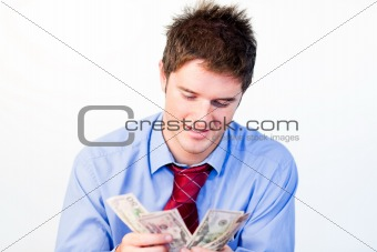 Portrait of man counting money