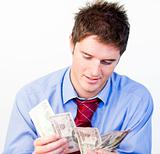 Male counting money