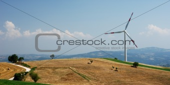 Molise landscape with wind turbine