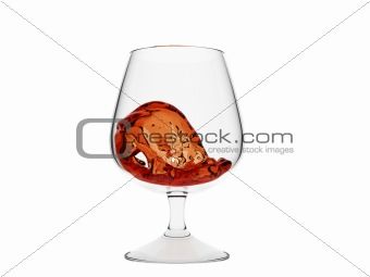 Wave of whiskey in glass