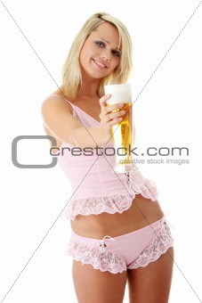 Young atractive blonde and beer