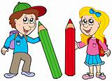 Boy and girl with giant crayons