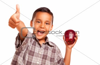 Adorable Hispanic Boy with Apple and Thumbs Up Hand Sign Isolated on a White Background.
