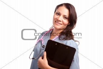 Attractive Hispanic Doctor or Nurse with Clipboard Isolated on a White Background.