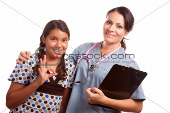Pretty Hispanic Girl and Female Doctor Isolated on a White Background.