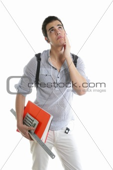 Caucasian student worried with negative gesture