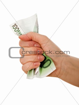 Crumpled banknote in a hand