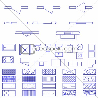 Image 2004072 common blueprint symbols from crestock stock photos common blueprint symbols malvernweather Image collections